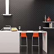 Millenium Black Gloss Brick effect Ceramic Wall tile, Pack of 6, (L)600mm (W)300mm
