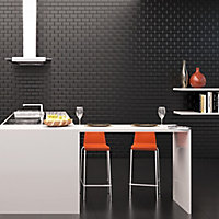 Millenium Black Gloss Brick effect Ceramic Wall Tile, Pack of 6, (L)600mm (W)300mm