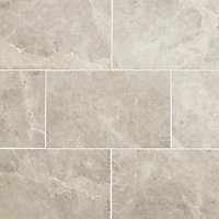Minerva Charcoal Gloss Marble effect Ceramic Wall tile, Pack of 10, (L)400mm (W)250mm
