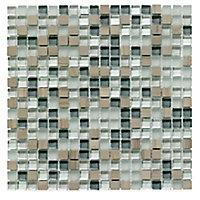 Mini Grey Glass & stone Mosaic tile, (L)300mm (W)300mm