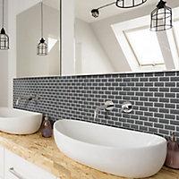 Mini Grey Porcelain Mosaic tile, (L)296mm (W)296mm