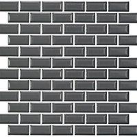 Mini Metro Grey Brick Porcelain Mosaic tile, (L)296mm (W)296mm