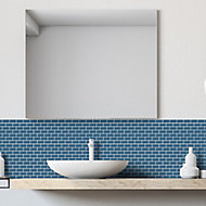 Mini Metro Petrol blue Porcelain Mosaic tile, (L)296mm (W)296mm