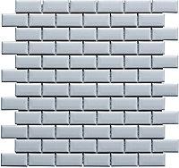 Mini White Porcelain Mosaic tile, (L)320mm (W)298mm