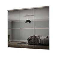 Minimalist Mirrored Grey 3 door Sliding Wardrobe Door kit (H)2260mm (W)1790mm