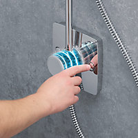 Mira Beacon 4-spray pattern Rear fed Chrome effect Thermostat temperature control Shower kit