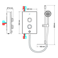 Mira Decor White Electric Shower, 9.5kW