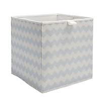 Mixxit Chevron Blue Cardboard & polyester (PES) Foldable Storage basket (H)310mm (W)310mm