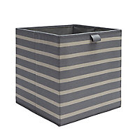 Mixxit Striped Anthracite Cardboard & polyester (PES) Foldable Storage basket (H)310mm (W)310mm