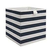 Mixxit Striped Navy Cardboard & polyester (PES) Foldable Storage basket (H)310mm (W)310mm