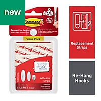 3M Command White Small, medium & large Adhesive strips Pack of 16