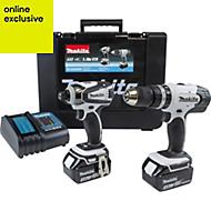 Makita LXT 3Ah Li-ion Combi drill & impact driver kit 2 batteries DLX2020SW