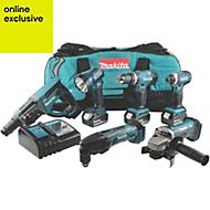 Makita LXT Cordless 18 V 4Ah 6 piece Power tool kit DLX6075M