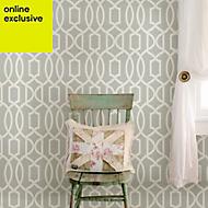 Wallpops Grey Grand trellis Smooth Wallpaper