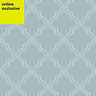 Wallpops Blue Quatrefoil Smooth Wallpaper