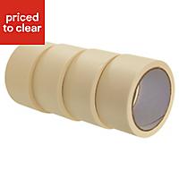 B&Q Buff Masking tape (L)25m (W)50mm, Pack of 4