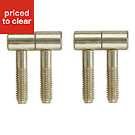 Brass-plated Metal Barrel Door hinge (L)34mm, Pack of 2