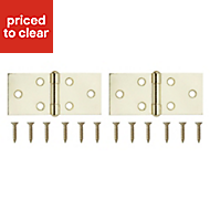 Brass effect Metal Backflap hinge, Pack of 2