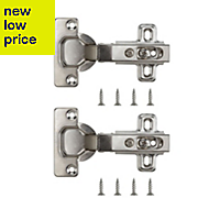 Nickel effect Metal Unsprung Concealed hinge, Pack of 2