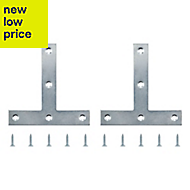 B&Q Zinc effect Steel Tee plate (L)100mm, Pack of 2