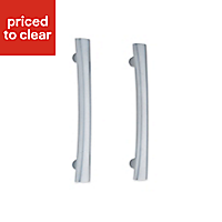 IT Kitchens Brushed Aluminium effect D-shaped Cabinet handle, Pack of 2