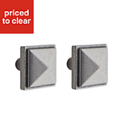 IT Kitchens Pewter effect Square Cabinet knob (L)30.4mm, Pack of 1