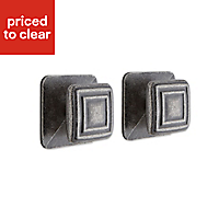 IT Kitchens Pewter effect Square Cabinet knob (L)28mm, Pack of 2