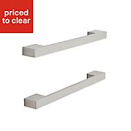 Brushed Nickel effect Square bar Furniture handle, Pack of 2