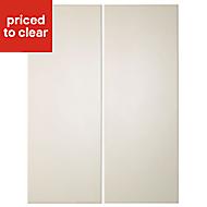 Cooke & Lewis Raffello High Gloss Cream Wall corner Cabinet door (W)250mm, Set of 2