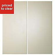Cooke & Lewis Raffello High Gloss Cream Base corner Cabinet door (W)925mm, Set of 2