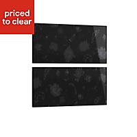 Cooke & Lewis Designer black floral Heritage Black Gloss 2 drawer bedside front pack (W)446mm