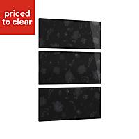 Cooke & Lewis Designer black floral Heritage Black Gloss 3 drawer bedside front pack (W)446mm
