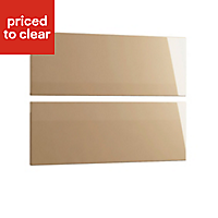 Cooke & Lewis Designer cappuccino gloss Contemporary Cappuccino Gloss 2 drawer mid bedside front pack (W)596mm