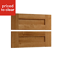 Cooke & Lewis Walnut style shaker Authentic Walnut effect 2 drawer mid bedside front pack (W)596mm