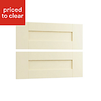 Cooke & Lewis Cream style shaker Authentic Cream 2 drawer mid bedside front pack (W)596mm