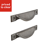 IT Kitchens Pewter effect Cup Cabinet handle, Pack of 2