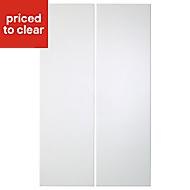 IT Kitchens Santini Gloss White Slab Wall corner Cabinet door (W)250mm, Set of 2