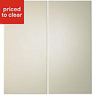 IT Kitchens Santini Gloss Cream Slab Base corner Cabinet door (W)925mm, Set of 2