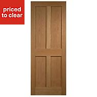 4 Panel Flush Oak veneer Internal Door, (H)1981mm (W)610mm
