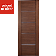 Flush 5 panel Walnut veneer Internal Fire Door, (H)1981mm (W)838mm