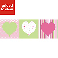 Hearts Green, pink & white Box art set (W)200mm (H)200mm