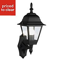 B&Q Penarven Black Mains-powered Outdoor Wall lantern