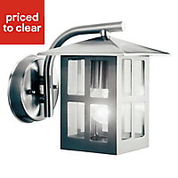 Vermont Stainless steel effect Mains-powered Outdoor Wall light