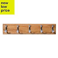 B&Q Oak & zinc alloy Hook rail