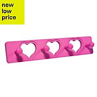 B&Q Pink Heart hook rail (H)12mm (W)80mm (L)400mm