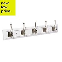 B&Q White Satin nickel effect Hook rail (H)23mm (W)100000mm (L)683mm