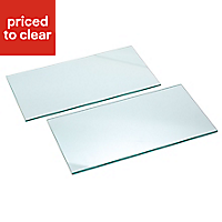 Clear Glass cupboard shelf (L)466mm (D)247mm, Pack of 2