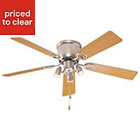 Austin Brown Stainless steel effect Ceiling fan light
