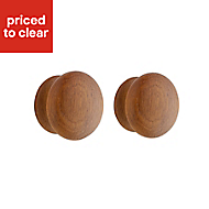 IT Kitchens Oak effect Round Cabinet handle (L)45mm, Pack of 2
