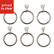Colours Steel Curtain ring (Dia)16mm, Pack of 6